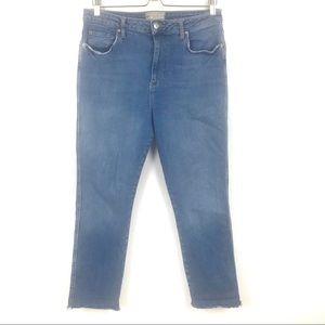 Free People High Rise Cropped Raw Hem Denim Jeans